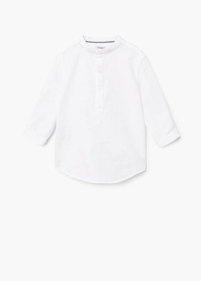 Baumwollhemd mit Mao-Kragen