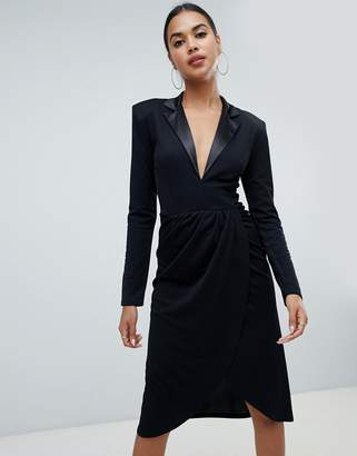 Club L tuxedo wrap midi dress