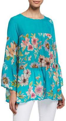 Johnny Was Fyson Floral-Print Scoop-Neck Flared-Sleeve Blouse, Plus Size