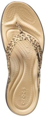 Crocs Women's Capri Leopard Print Strappy Flip Flop