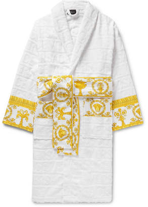 Versace Satin-Trimmed Logo-Jacquard Cotton-Terry Robe