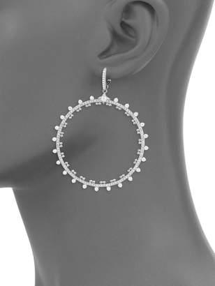 Adriana Orsini Cardamom Goldtone Crystal Dangle Hoop Earrings