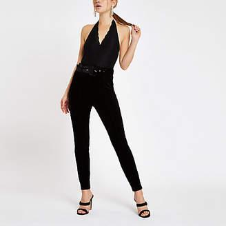 River Island Black lace halter neck bodysuit