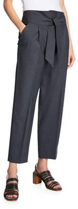 Brunello Cucinelli Tie-Waist Lightweight Wool Pants