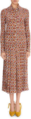 Victoria Beckham Paisley Crepon Long-Sleeve Top