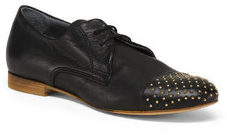 Made In Italy Cap Toe Leather Flats