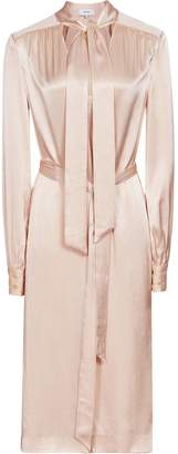 Reiss Ray - Satin Long Line Shirt Dress in Neutral