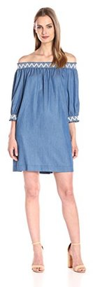Trina Turk Women's Neville Fluid Chambray Off-Shoulder Dress $124.99 thestylecure.com