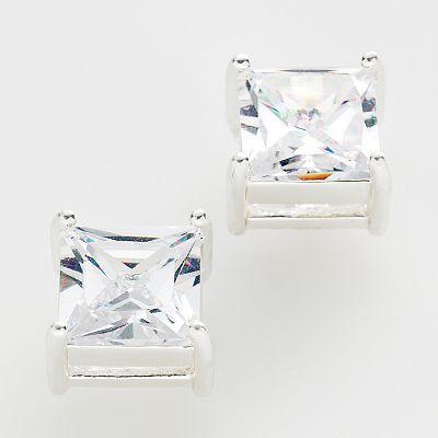 Apt. 9®silver-tone cubic zirconia stud earrings