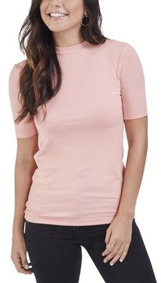 Seek No Further Women's Mock Neck Ribbed T-Shirt, Available in Sizes up to 2XL