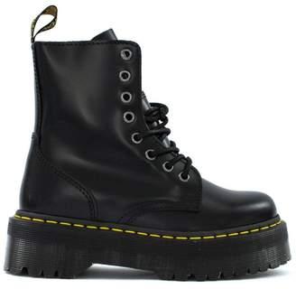 Dr. Martens Jadon Boots In Black Polished Smooth Leather.