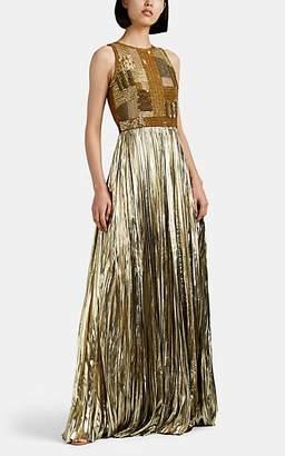J. Mendel Women's Embellished Plissé Lamé Gown - Gold