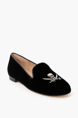 Jon Josef Shoes Black Velvet Skull Loafers