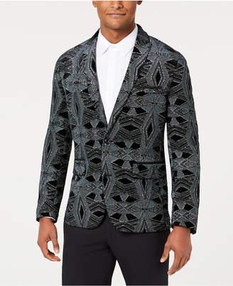 INC International Concepts I.n.c. Men Slim-Fit Glitter Velvet Pattern Blazer