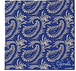 Cifonelli CIFONELLI MEN'S PAISLEY SILK TWILL POCKET SQUARE - BLUE PAT.