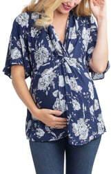 Nom Maternity Lara Twist Floral Maternity/Nursing Top