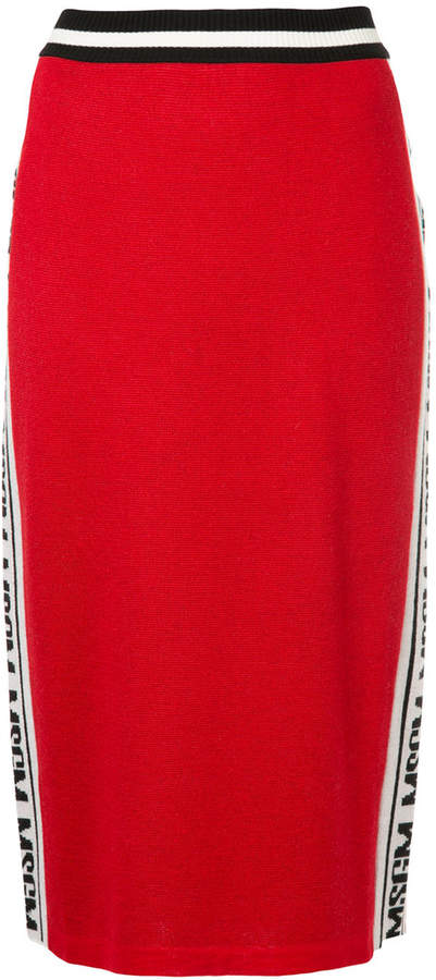 MSGM fitted skirt with logo-ed side