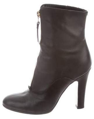 Valentino Leather Round-Toe Ankle Boots