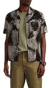 James Perse Men's Palm-Leaf-Print Cotton Camp Shirt - Md. Green
