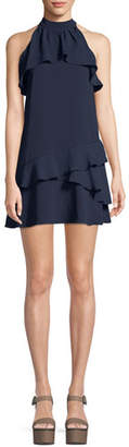 Parker Serafina High-Neck Ruffle Mini Combo Dress