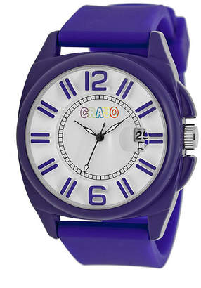 Crayo Sunset Purple Silicone-Band Watch With Date Cracr3303