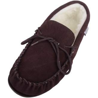 6c42bc85b84 Snugrugs Mens Dark Brown Suede Sheepskin Moccasin Slippers with Wool Lining  and Rubber Sole. Size