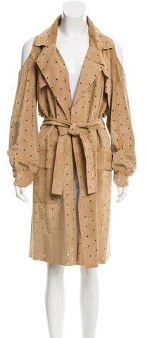 Fendi Perforated Cold-Shoulder Suede Coat