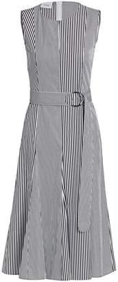 Akris Punto Patchwork Stripe Sleeveless Poplin A-Line Dress