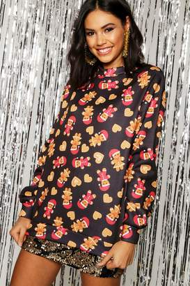 boohoo Christmas Ginger Bread Print Sweat Jumper
