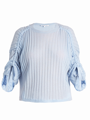 HELMUT LANG Drawstring-sleeve cashmere sweater $380 thestylecure.com