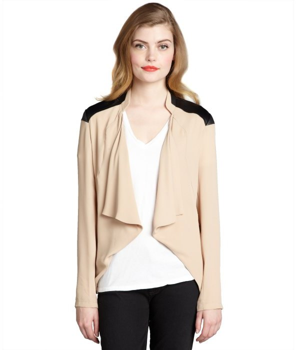 The Cue beige and black stretch crepe 'Vespa' open front jacket