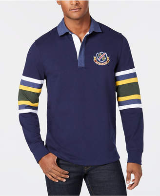 Club Room Men's Rugby Shirt with Chambray Collar, Created for Macy's