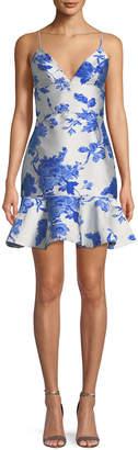 Neiman Marcus Mestiza New York Floral-Print Jacquard Ruffle Cocktail Mini Dress