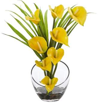 Orren Ellis Calla Lily and Grass Artificial Floral Arrangement in Vase Flower