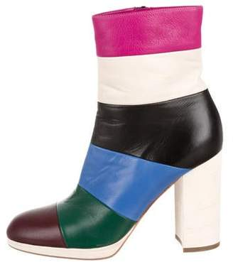 Valentino Leather Multicolor Striped Booties