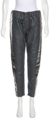 Les Chiffoniers Leather Mid-Rise Pants w/ Tags Grey Leather Mid-Rise Pants w/ Tags