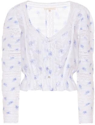 LoveShackFancy Sabrina floral cotton top