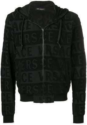 Versace full-zipped logo hoodie