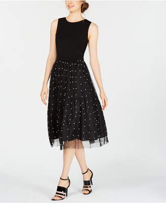 Calvin Klein Imitation Pearl Mesh A-Line Dress