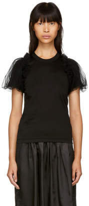Noir Kei Ninomiya Black Tulle Sleeve T-Shirt