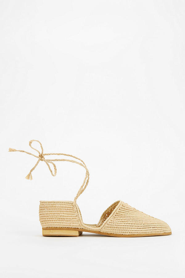 Urban Outfitters Proud Mary Raffia Lace-Up Skimmer