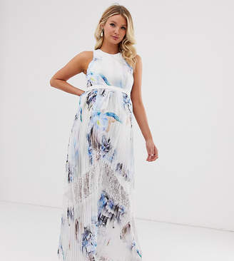 Little Mistress Maternity all over floral pleated maxi dress in multi