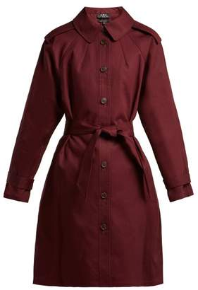A.P.C. Lune Cotton Trench Coat - Womens - Burgundy
