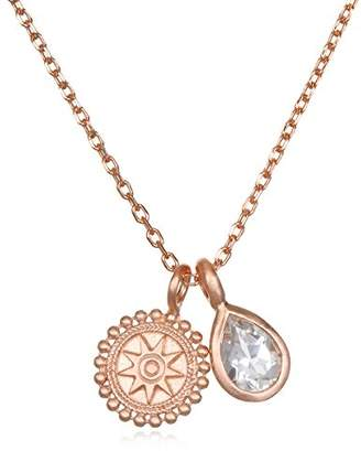 Satya Jewelry Womens White Topaz Mandala Pendant Necklace 18-Inch