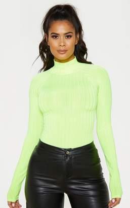 PrettyLittleThing Neon Lime Slinky Rib High Neck Long Sleeve Top