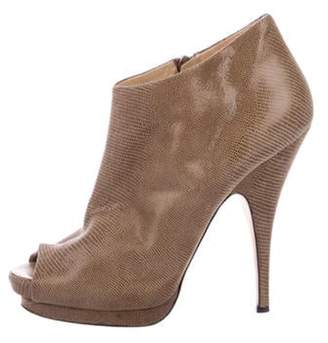 Giuseppe Zanotti Suede Peep-Toe Ankle Boots brown Suede Peep-Toe Ankle Boots