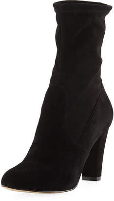 Neiman Marcus Maise Stretchy Suede Booties