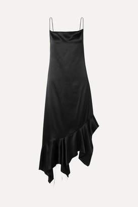 Marques Almeida Marques' Almeida - Asymmetric Frayed Silk-satin Midi Dress - Black