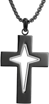 FINE JEWELRY Mens Stainless Steel Cross Pendant Necklace