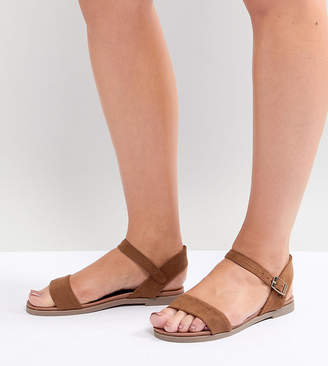 New Look Wide Fit 2-Part Suedette Flat Sandal